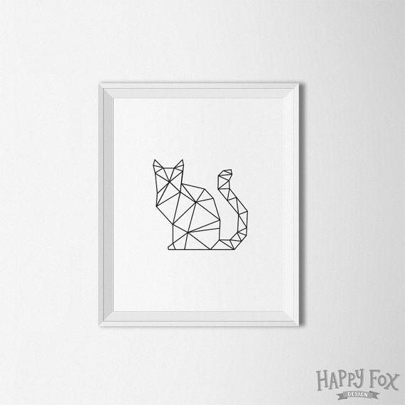 Geometrische Cat Art print digitale moderne inrichting van