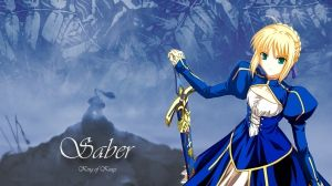 Preview wallpaper girl, fate stay night fate, blonde, cute, dress, sword 1920x1080