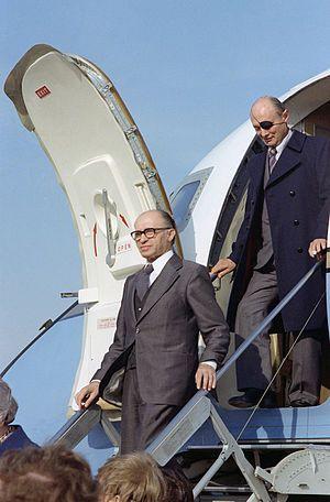 Prime Minister Menachem Begin and Foreign Minister Moshe Dayarriving in US