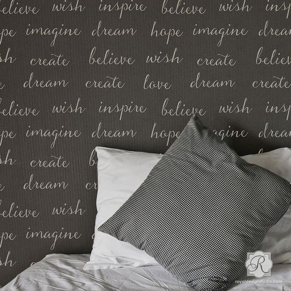 Create a romantic stenciled wallpaper effect of inspirational quotes, typography designs, and lettering stencils in modern bathroom, bedroom, or kids room.