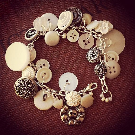 Buttercream Garden - Vintage Button Charm Bracelet by thelibraryfaerie, $20.99