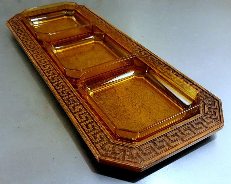 Vintage 70's Westwood Thermo Serv Leisure Relish Tray w/Faux Walnut Woodgrain Tray w/Greek Key Border & 3 Amber Plastic Relish Tray Inserts by MidModery on Etsy