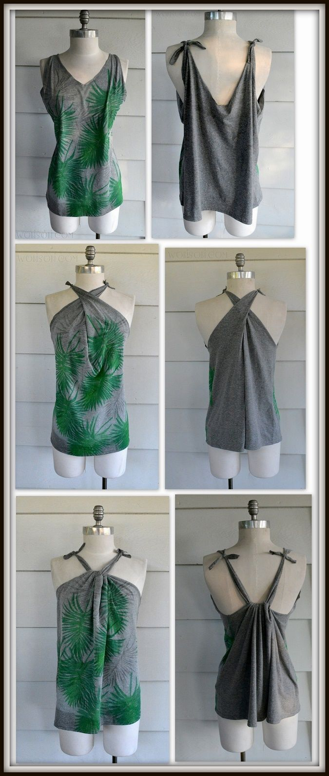 This No Sew tank is similar to a couple of other no-sew tanks I have done in the past, but is designed and cut differently and because I am completely obsessed with palm leaves right now I experiment