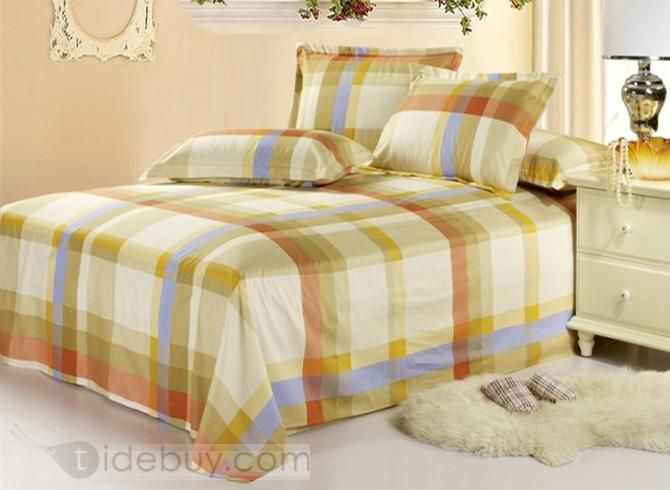 Exquisite Colorful Check Stripe Cotton Sheet : Tidebuy.com