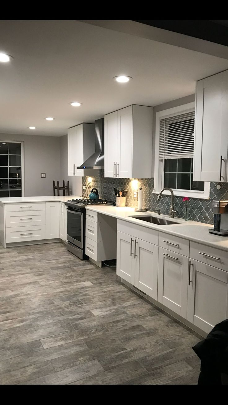 THIS EXACT COLOR SCHEME!! White cabinets, white trim ...