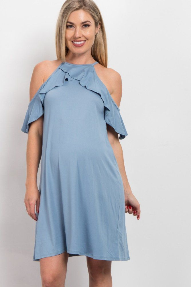 46b358a2ee44 A solid open shoulder maternity dress. Cami straps. Ruffle trim. Rounded  neckline. This style was created to be worn before, during, and after  pregnancy.