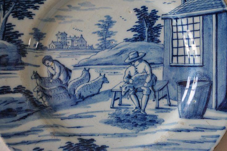 """- """"Les mois de l'année"""" en faïence de Delft vers 1780"""
