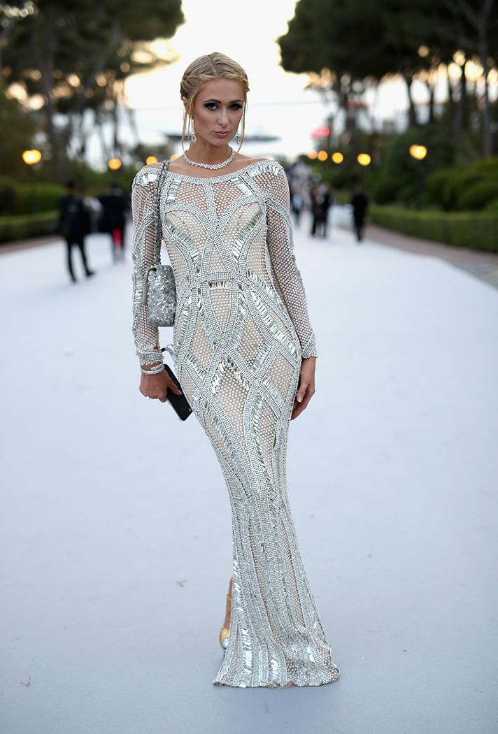 Formal Dress Inspiration | What All the Celebs Wore to the 2016 amfAR Gala | Paris Hilton in a long sleeve embellished gown