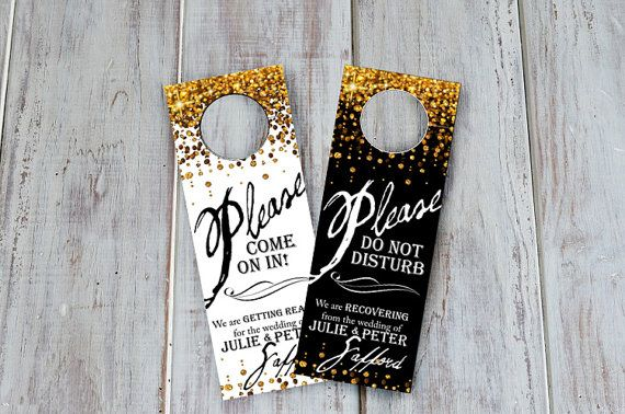 Custom listing for Daniela - set of 15 -  Wedding Hotel Door Hangers - TWO SIDED - Welcome Guest Bag Addition