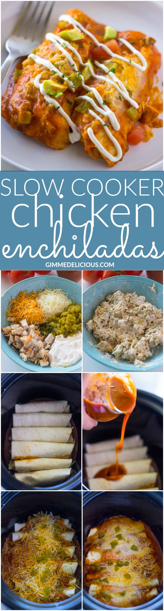 Slow Cooker Chicken Enchiladas | Gimme Delicious