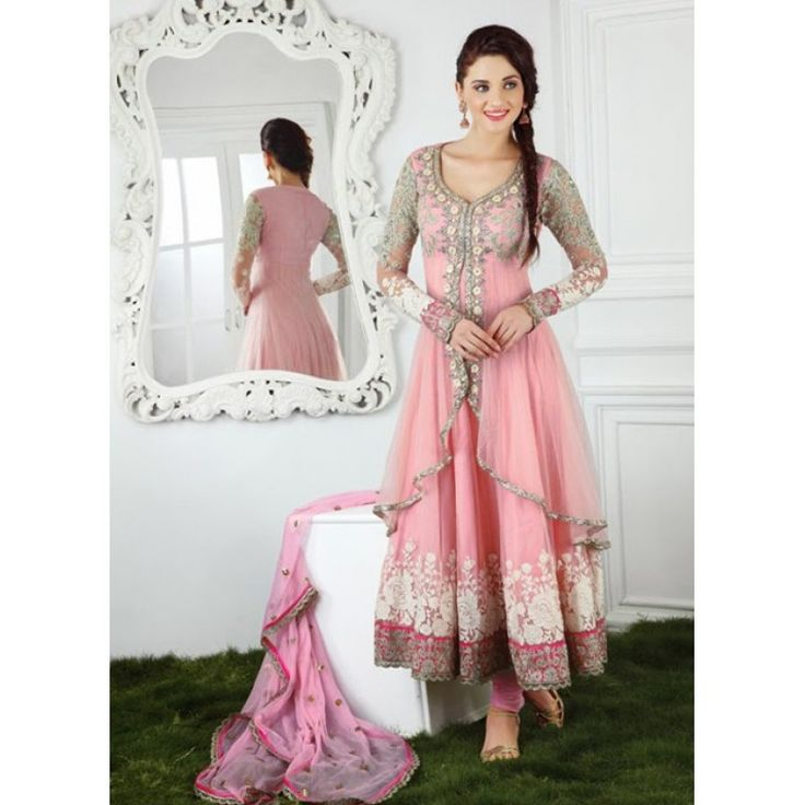 Eid Special Designer Embroidered Light Pink Jacket Style Long Anarkali Suit-7006( FFH-FA161)