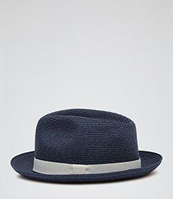 Mens Blue Woven Panama Hat - Reiss Salt