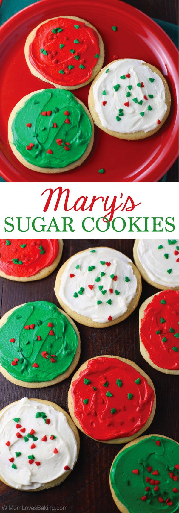 Mary's Sugar Cookies - a classic sugar cookie recipe that I've been making for 40 years. Perfect for the holidays or anytime! Get the recipe on MomLovesBaking.com
