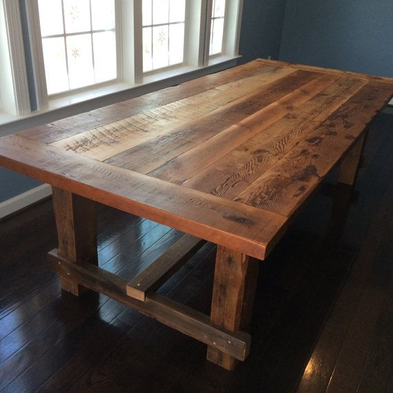 Farm style dining table hand made from reclaimed barn for Reclaimed wood table designs