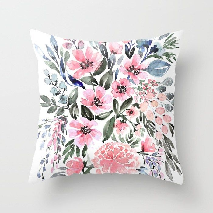 Buy Loose Watercolor Floral Bouquet Clara Throw Pillow By Blursbyaishop Worldwide Shipping Available At Loose Watercolor Floral Watercolor Floral Bouquets