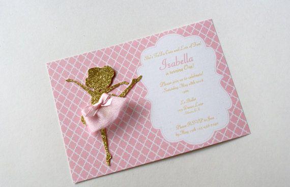 Pink and Gold Ballerina Invitation, Ballerina Birthday Party Invitation,  Gold and Pink Invitation, Ballet Invitation, Glitter (BALL-PG)