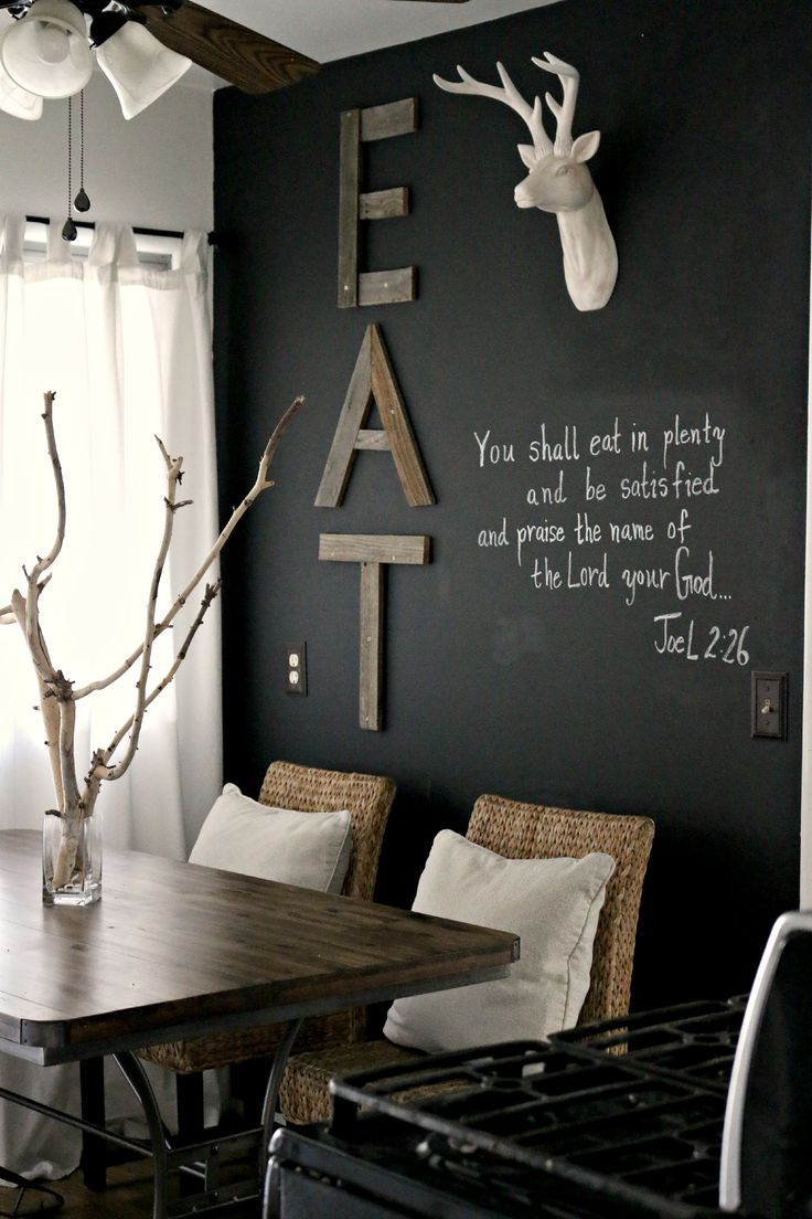 "Eat-In Kitchen ""EAT"" Wooden Wall Art (line up letters horizontally along the dining room wall to take up more visual space)"