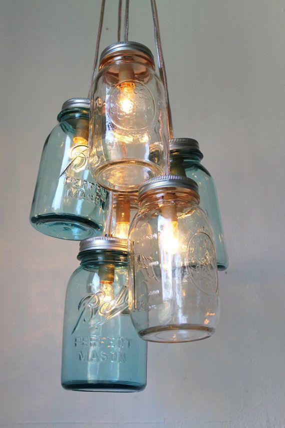 Mason Jar Chandelier  Mason Jar Light  Modern by BootsNGus on Etsy, $200.00