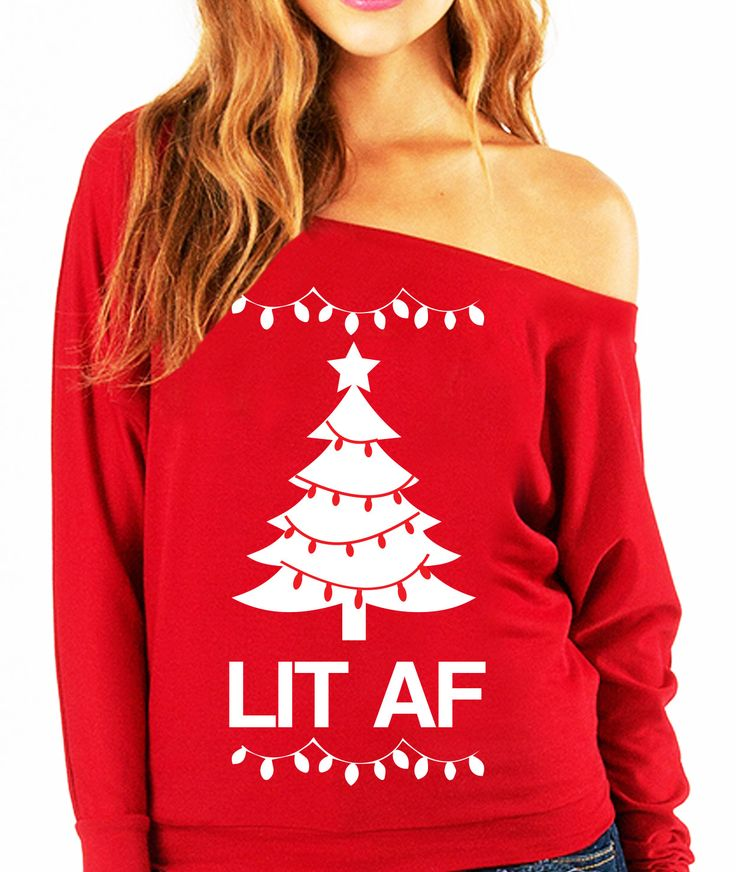 LIT AF Christmas Slouchy Sweatshirt - Pick Color at www.NoBullWoman-Apparel.com