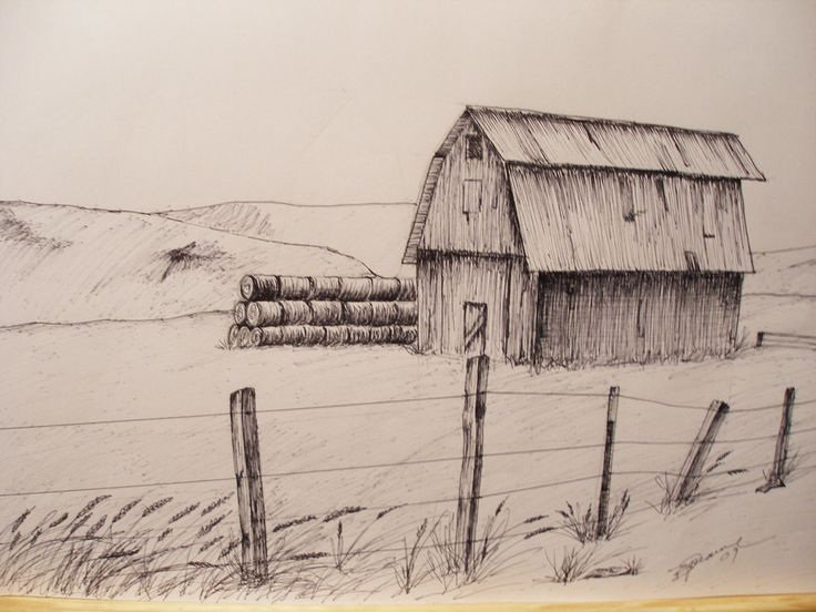 """Print Pen and Ink Drawing of Oregon Hay Barn, 81/2"""" X 11"""""""
