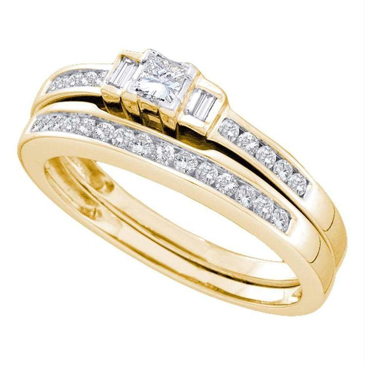 14kt Yellow Gold Women's Princess Diamond Bridal Wedding Engagement Ring Band Set 3/8 Cttw - FREE Shipping (US/CAN)