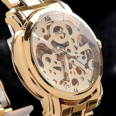 KitMax (TM) Rose Gold Plated Stainless Steel Skeleton Mechanical Business Watch: Amazon.ca: Watches