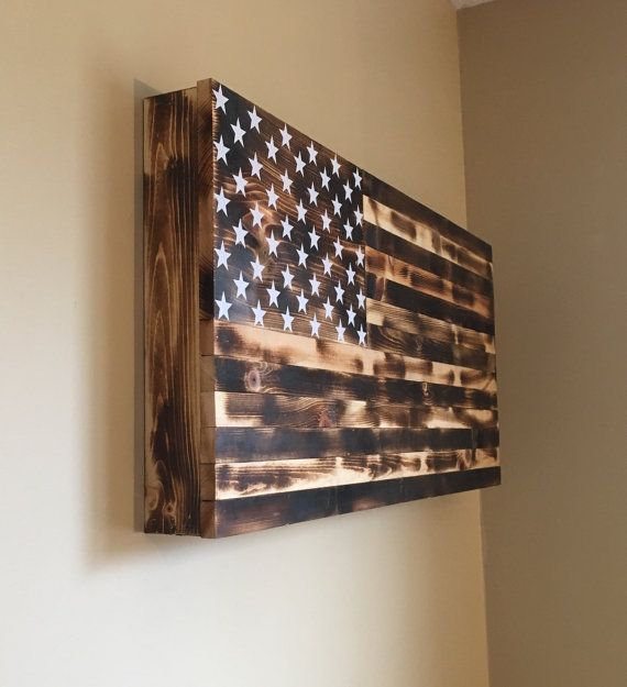 Burnt American wooden flag hidden gun cabinet by CountryboyCraftin