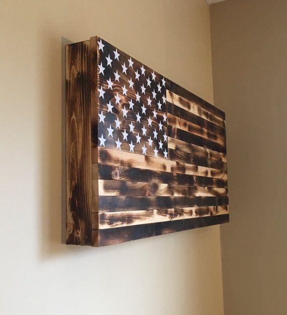 Burnt American wooden flag hidden gun cabinet by CountryboyCraftin