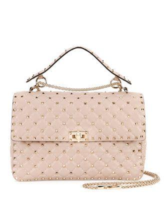 Rockstud Matelasse Large Shoulder Bag, Beige by Valentino at Neiman Marcus.