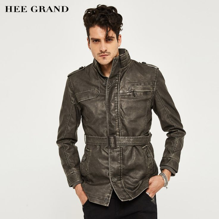 HEE GRAND Men's PU Leather Clothing Hot Sale Fashion Zipper Casual Stand Collar Long Stretch Men PU Leather  Overcoat  MWP292