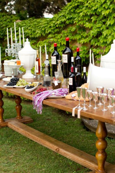 What a great set up for a wine tasting party in your back yard!! or wherever you'd like it to be.. if you have a big house, do it inside!
