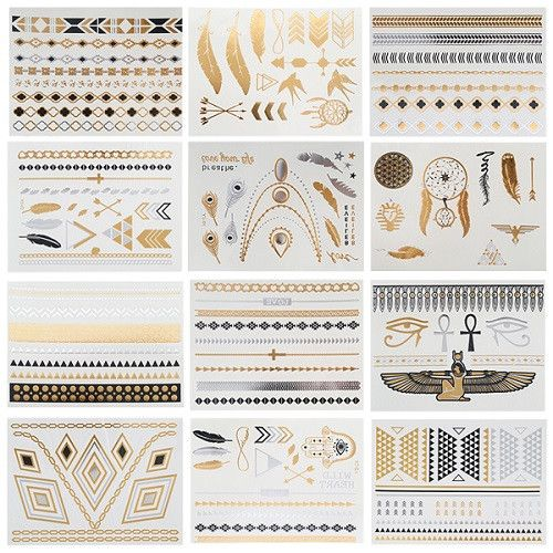 12pcs/ Boho Temporary Gold Silver Tattoos stickers Jewelry Sheet of Metallic Body Art Tattoos Stickers Drop Shipping