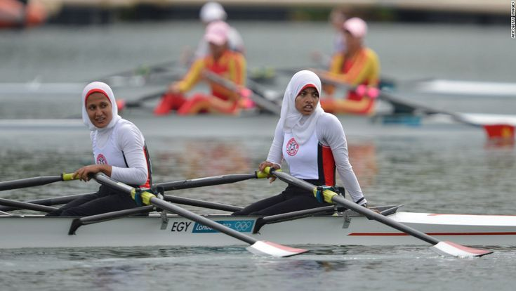 Sara Mohamed Baraka and Fatma Rashed after the women's rowing lightweight double sculls repechages event in the 2012 Olympics. The hijab sparks a lot of debate about whether or not it's degrading to women. I think these women look pretty in charge to me.
