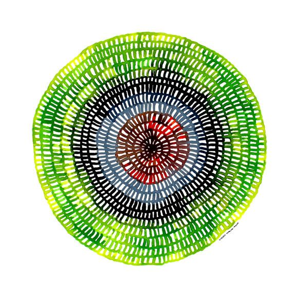 Crotchet Web Mandala No.59 (25cm diameter circle) Original contemporary watercolour painting by Australian artist Chelsea H-A. www.ChelseaH-A.com