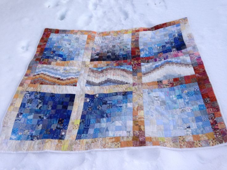 Snow ind the mountains. Quilt in colorwash squares. Karin E Gjersoe, Denmark.ca.2008.