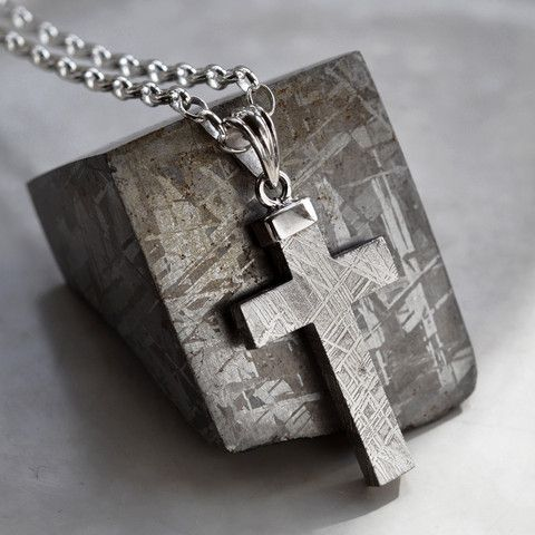 Meteorite and Silver Cross Necklace by Martha Jackson. Silver and Meteorite for Men - but I would wear it! Never seen anything like this before.