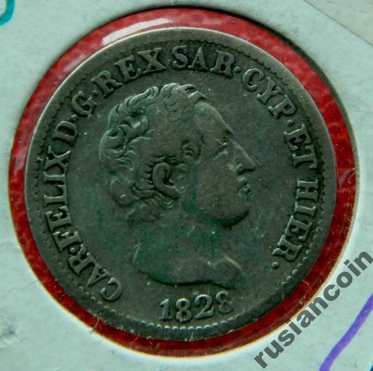 Сардиния 50 чентизимо Карло Феличе 1828 СЕРЕБРО 50 cen sardinia Carlo Felix