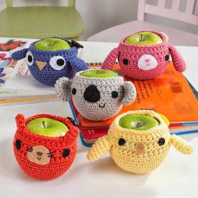 Rosa acessórios em tricô & crochê: Embalagens com crochê
