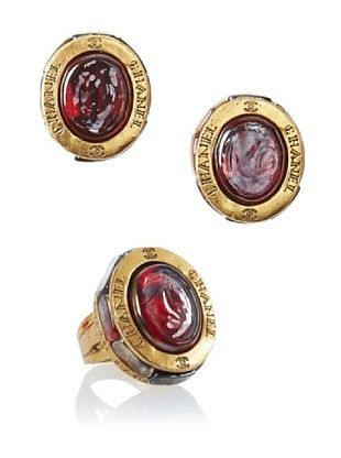CHANEL Gripoix Earrings and Ring Set