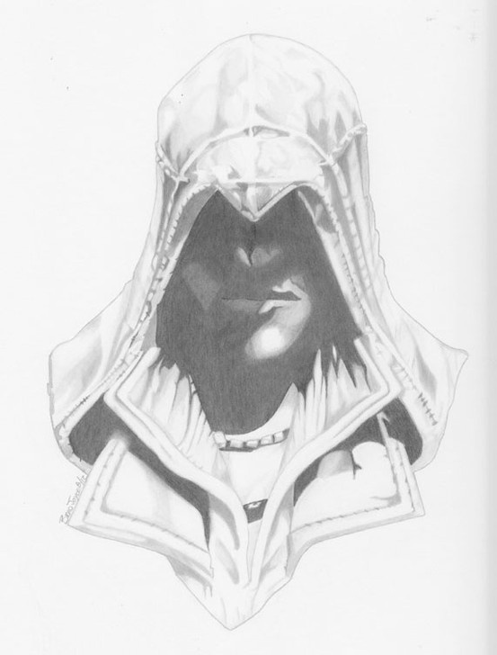 Commission of Ezio from Assassian's creed. pencil 9x12-Brad Joyce