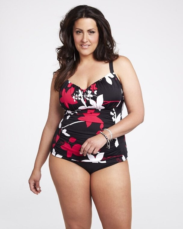 #AdditionElle #PlusSize #Swimwear 2013  printed ruched tankini