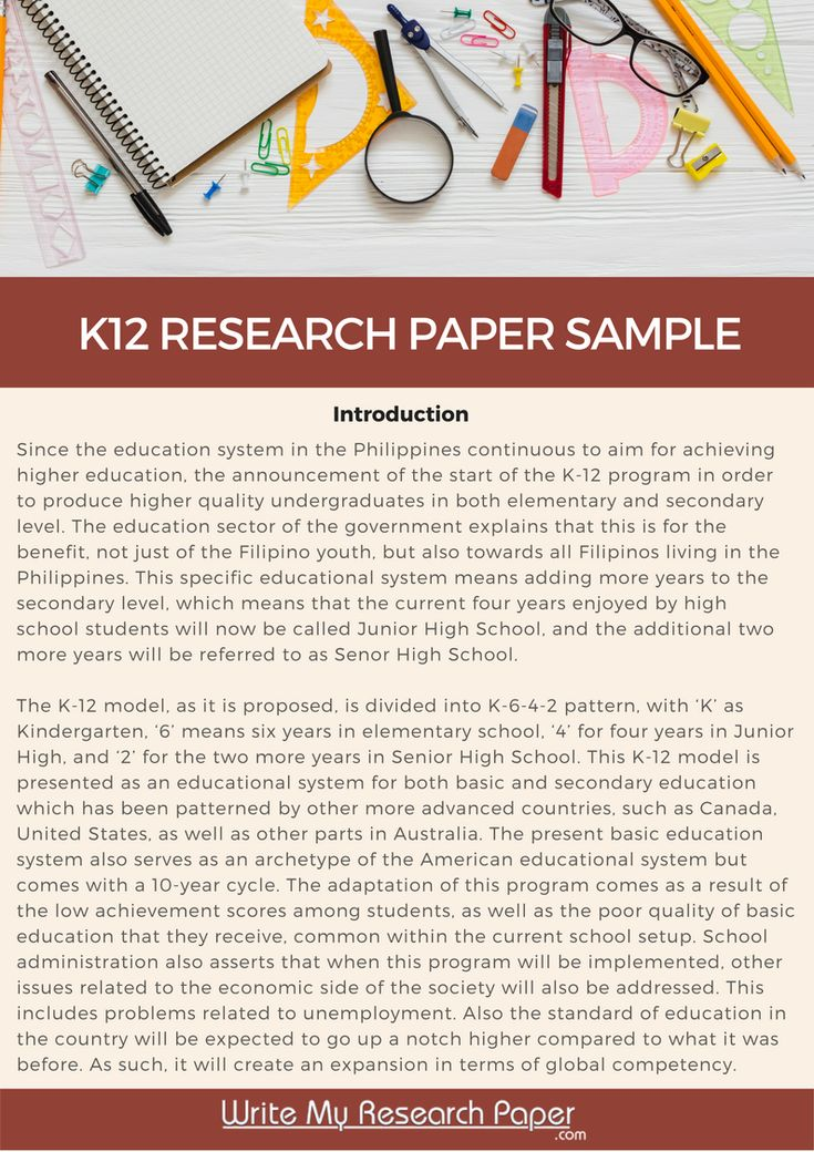 Outstanding sample of K12 research paper which you can use to help - research paper sample
