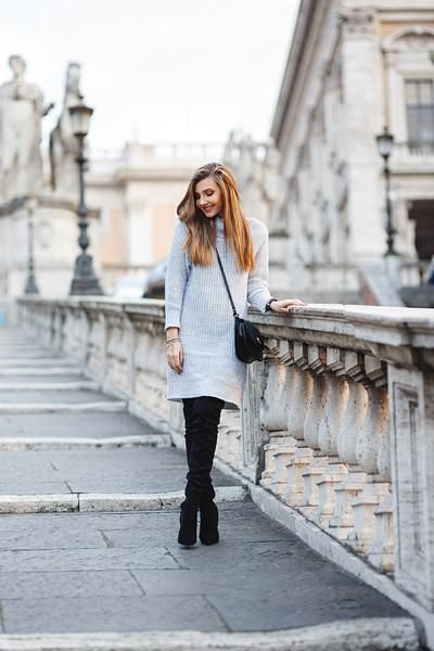 1115ce54d5 Sweater Dress Grey Turtleneck Pencil Dress