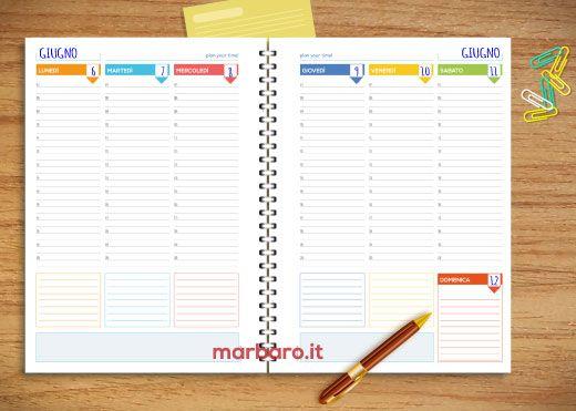 Fogli per Agenda Settimanale da stampare: alcuni modelli di pagine da scaricare gratis in PDF e stampare in formato pagina A4 o A5 per creare la tua agenda.
