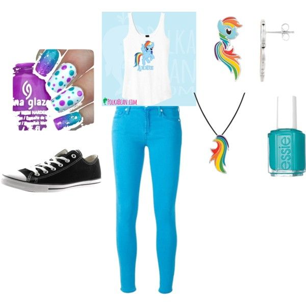 rainbow dash by sunn-cm on Polyvore featuring Converse, My Little Pony and Essie