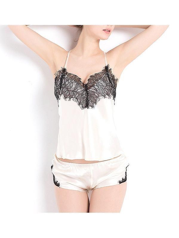 women fashion   lingerie   classy   elegant      vintage   silk   nightwear   wedding   set   cute   underwear   luxury   beautiful   outfits   Black Swan crossback cami and boyshort set silk & nylon lace