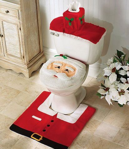 Santa Toilet Seat Cover and Rug Set - Novelty Christmas Gifts Concept