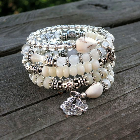 White and Silver II Memory Wire Bracelet by BlooMoonJewelry,