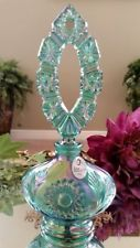 FENTON Art Glass Spruce Green Perfume Bottle & Carnival Glass Stopper w/Label