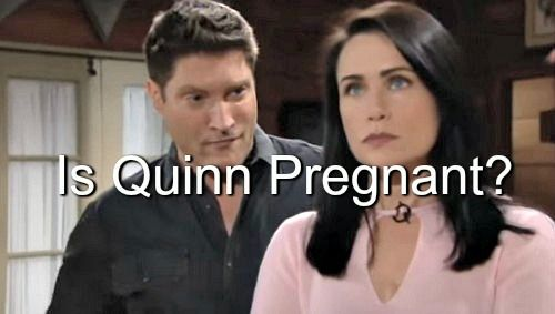 """""""The Bold and The Beautiful"""" (B&B) spoilers hint that Quinn Fuller (Rena Sofer) may be pregnant by her son's brother Liam Spencer (Scott Clifton)..."""